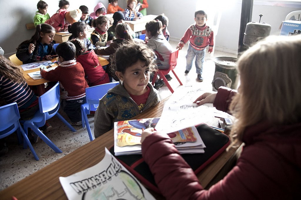 School for refugee children in Qaa, Lebanese-Syrian border